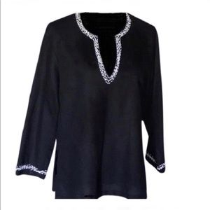 Michael Kors Black Beaded Linen Tunic Top
